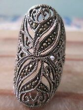 Vintage Sterling Silver Filigree Design Ring with Marcasite Accents Size 7.5