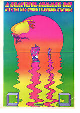 Vintage Peter Max Poster Print, 1960s Psychedelic Flower Power Item 5213, NBC