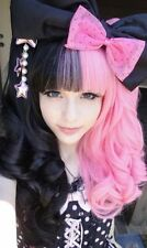 Synthetic Cosplay Long Curly Pink Black clip on 2 Ponytail Lolita Anime Wigs