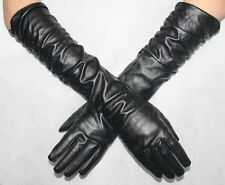 WOMEN LONG PU LEATHER GLOVE LADIES BLACK DRIVING OPERA EVENING GLOVES SIZ MEDIUM