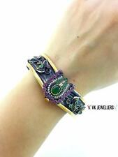 925 STERLING SILVER TURKISH HANDMADE JEWELRY EMERALD TOPAZ CUFF BRACELET R1930