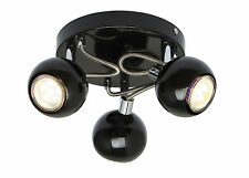 Retro Eyeball Gloss Black and Chrome 3 Way Ceiling GU10 Spotlight Light Fixture