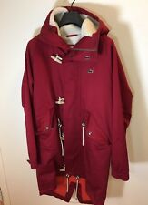 Lacoste LIVE Duffle Trench Sherpa Hooded Red Jacket Size 48