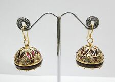 Vintage antique Solid 18K Gold jewelry Diamond Polki Ruby Earring pair India