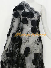 By meter Black Satin Flower Embroided Sequinned Lace Net Crafts Fabric #FA01G