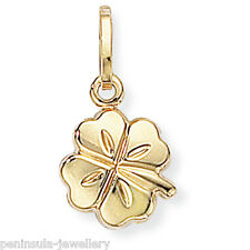 9ct Gold Lucky Four Leaf Clover bracelet Charm Gift Boxed