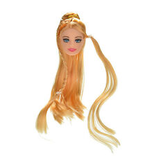 "1X Doll Head Golden Long Straight Hair for 11"" Barbies Dolls Fashion Style Hot"