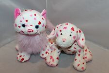 WEBKINZ LOVELY LOVE KITTEN Cat Pink Hearts Plush HM748 & LOVE PUPPY No Code EUC