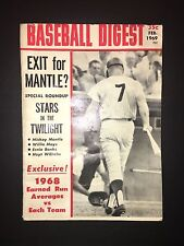 Original Baseball Digest Magazine February 1969 Issue Featuring Mickey Mantle