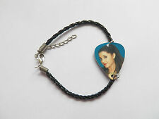 ARIANA GRANDE guitar pick plectrum black LEATHER braid twist  BRACELET 7""