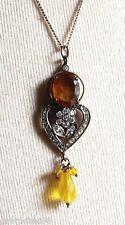 pendentif chaine bijou vintage couleur or cristaux diamant poire facette 4820