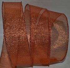 """Wired Ribbon~Sheer~Christmas Mesh~1 1/2""""~Holiday Copper~Metallic~Wreath~Gift~Bow"""