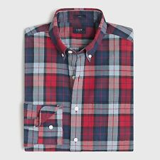 J Crew Factory - Men's XS - NWT - Red & Blue Plaid Cotton Slim Fit Washed Shirt