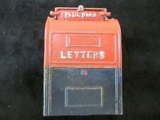 VINTAGE US MAIL BOX LETTERS COIN BANK - CAST IRON - RED WHITE & BLUE