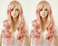 Fashion Long Pink Mix Blonde Curly Wavy Women's Lady's Cosplay Hair Wig Wigs+Cap