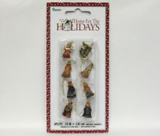 Set of 8 Miniature Nativity Scene Hand Painted Christmas Ornaments