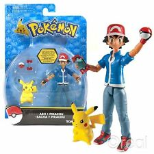 New Pokemon Ash & Pikachu Figures w/ Pokedex & Poke Ball Trainer Set Official