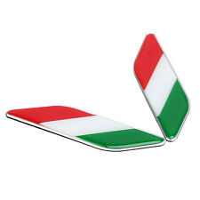 2Pcs Car Auto 3D Aluminum Italy Italian Flag Fender Emblem Badge Decal Sticker