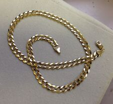 "10k Solid Gold Comfort Concave Cuban Curb Link Chain Necklace 22"" 4.7mm 11 grams"