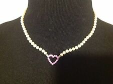Pearl Strand 14K White Gold Heart Pink Sapphire Chocker/Necklace Diamond Accents