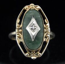 Victorian Antique Diamond Green Malachite 10k Yellow Gold Ring Vintage c.1800s