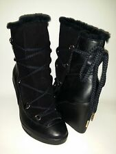 NEW Women's MICHAEL KORS Black Leather & Suede Wedge Boot Woman's Size 8.5 $299