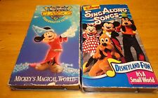 Disney (VHS Lot of 2) Sing Along Songs Disneyland Fun, Mickey's Magical World