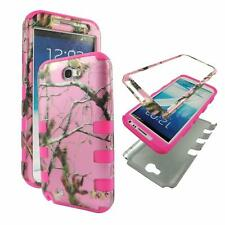 For Samsung Galaxy Note 2 N7100 Hybrid PinkStrip Camo Pink Pine Hard Soft Cover