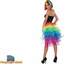 BURLESQUE GLAMOUR RAINBOW BUSTLE SKIRT Ladies Womens Fancy Dress Costume