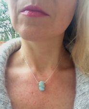 Designer Argento Sterling ACQUAMARINA COLLANA fatto a mano MARZO birhtstone Jewelry