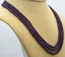 New NATURAL 3 Rows 2X4mm FACETED Amethyst BEADS NECKLACE 17-19'' AAA