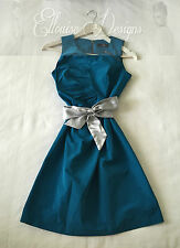 AS NEW! CUE Teal Blue Fitted Pencil Pleated Exposed Zip Cocktail Dress Size 6