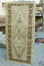 Rare 1900-1939s 3'x6'3'' Ivory-Gold Colors Wool Natural Old Dyes Pile Rug-Turkey