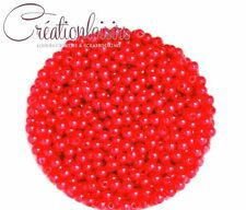 Lot de 100 Perles ronde nacré acrylique rouge 4 mm