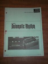 Lowrey Automatic Rhythm AR AR-2 AR-1 ARK-1 Service Manual Schematics Parts List