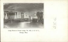 Orange MA Lodge Room of Social Lodge IOOF c1910 Postcard
