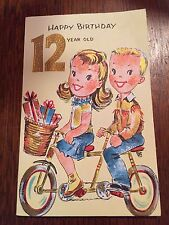 "Vintage Birthday Card ""Happy Birthday 12 year old"" Gold Gilt NEW w/envelope"