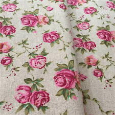 140x100cm Vintage Rose Flower Floral Natural Cotton Linen Fabric Sewing Craft