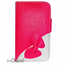 BOW Designer Leather Wallet Flip Book Case Cover for Samsung Apple iPhone Nokia