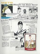 PITTSBURGH PIRATES FRANK THOMAS. AUTOGRAPH. CARD & NEWS ARTICLES MONTAGE. +PHOTO