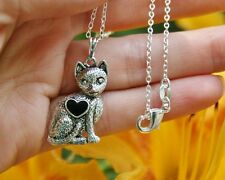 .925 Sterling Silver NECKLACE Cat Heart Kitten Lover Gift Antique Kitty Girly