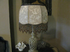 "Victorian French Lg Floor Table Lamp Shade ""Damask"" Off White/ Gold 6"" Beads"