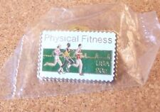 Physical Fitness USA 20c metal postage stamp style lapel pin USPS