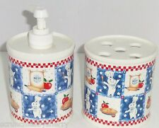 Pillsbury Doughboy Soap Lotion Pump Bottle Toothbrush Holder Bathroom Ceramic