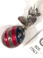 NWT Enamel Sterling Silver .925 Patriotic Faberge Inspired Egg Pendant Charm!