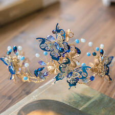 Vintage Wedding Bridal Blue Butterfly Queen Crown Tiaras Handmade Accessories