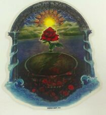 GRATEFUL DEAD STICKER DECAL BUMPERSTICKER STEAL YOUR FACE RED ROSE WITH SUNSET