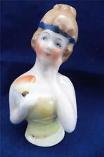 Vintage-Antique Half Doll Pin Cushion 1920's Lady With Fan