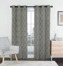 """Two (2) Silver and Gray Window Curtain Panels: 76"""" x 84"""", Grommets, IKAT Design"""