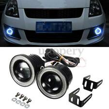 2pcs Car 2.5'' 30W Projector COB LED Fog Light White Halo Angel Eyes Rings DRL